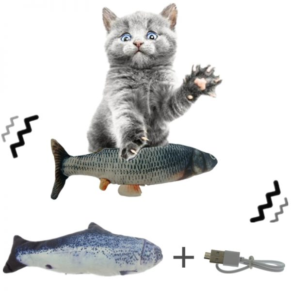 Unchained Warrior Electric USB Pet Moving Floppy Fish Interactive Simulation Toy for Cats and Dogs