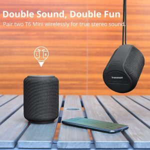 Tronsmart T6 Mini TWS Bluetooth 5.0 Speaker 15W IPX6 Waterproof Wireless Speaker 24H Play Time Portable Speaker Voice Assistant